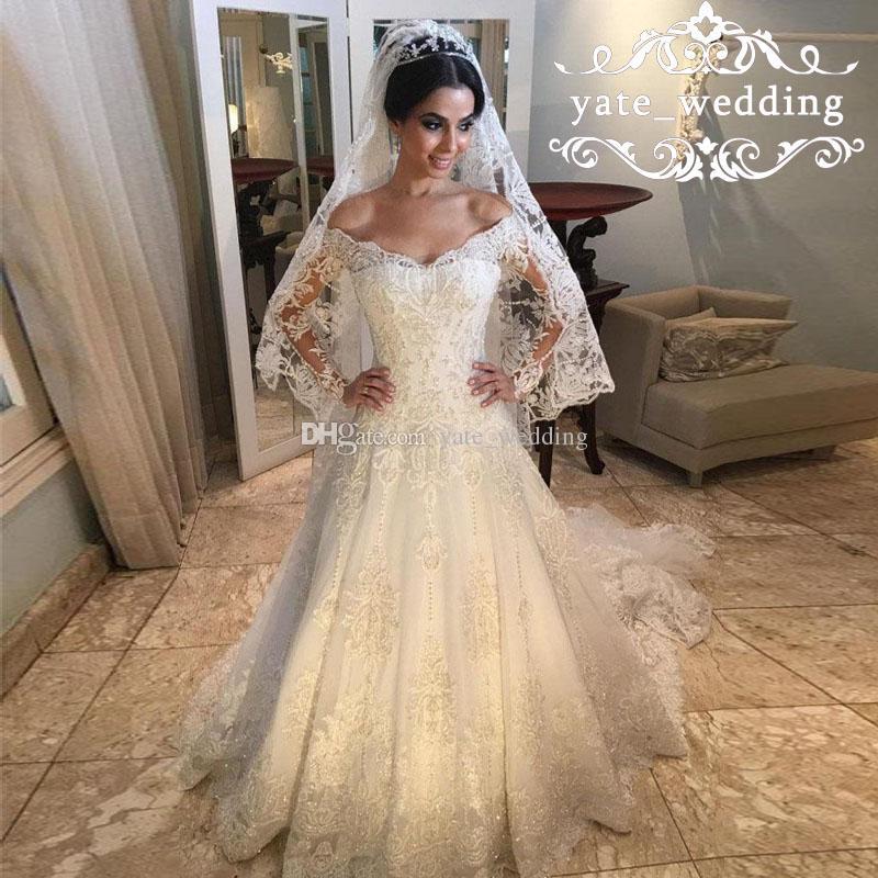 Discount 2018 Luxury Lace Wedding Dresses V Neck Off Shoulder Long ...