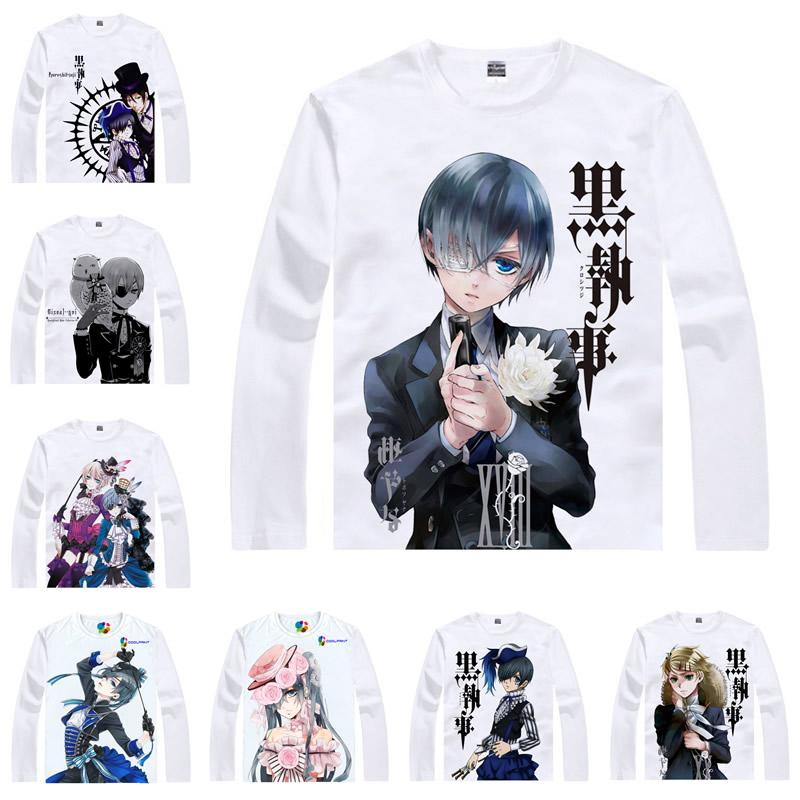 Japanese Anime Shirt Black Butler T Shirts Multi Style Long Sleeve