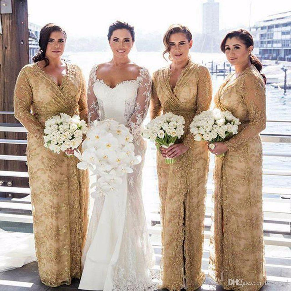 Plus size gold lace long bridesmaid dresses 2017 sexy v neck with plus size gold lace long bridesmaid dresses 2017 sexy v neck with long sleeves side leg split evening gowns mother of the bride dress red bridesmaid dress ombrellifo Image collections