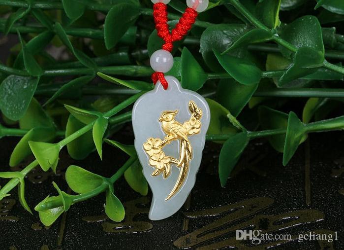 Золото инкрустированные нефрит листья сорока мая нефрит кулон очарование ожерелье кулон
