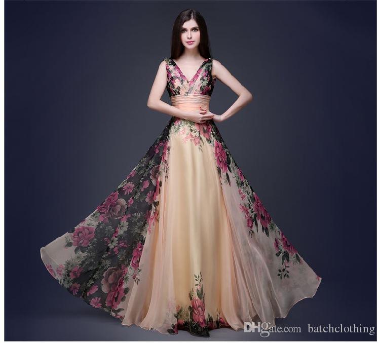 d487c08cf069 Acquista Abiti Da Donna Fashion Party Dress Senza Maniche Scollo A V Profondo  Abiti Pieghettati Elegante Spalle Fiori Abiti Lunghi Da Donna A  24.77 Dal  ...