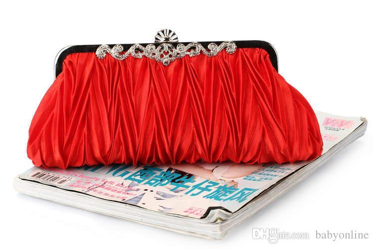 Mode Pas Cher De Mariée De Haute Qualité Argent Rouge Cristaux Perles Embrayage Sacs À Main Sac À Bandoulière Bourse Sacs CPA806