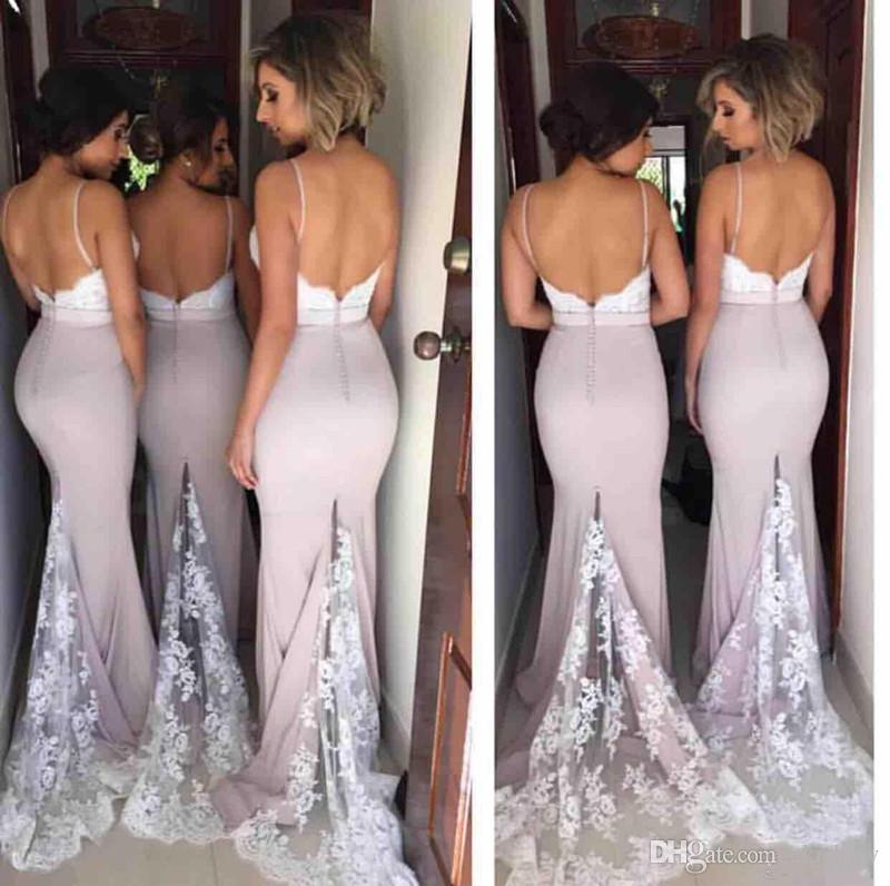 2017 New Cheap Dusty Pink Lace Applique Mermaid Bridesmaid Dresses Spaghetti Straps Backless Arabic Maid of the Honor Dresses Custom Made