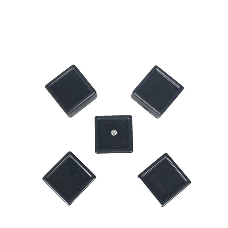 Plastic Loose Diamond Display Package Box Square White Gem Case Black White Foam Pad Beads Pendant Box White Gem Showcase 3*3*2 cm