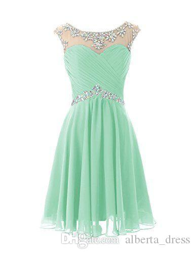 Knee Length Cute Mint Sheer Crew Neck Prom Dresses Pleats Backless Real Picture Dresses Formal Dresses Custom Made Cheap Short Party Dresses