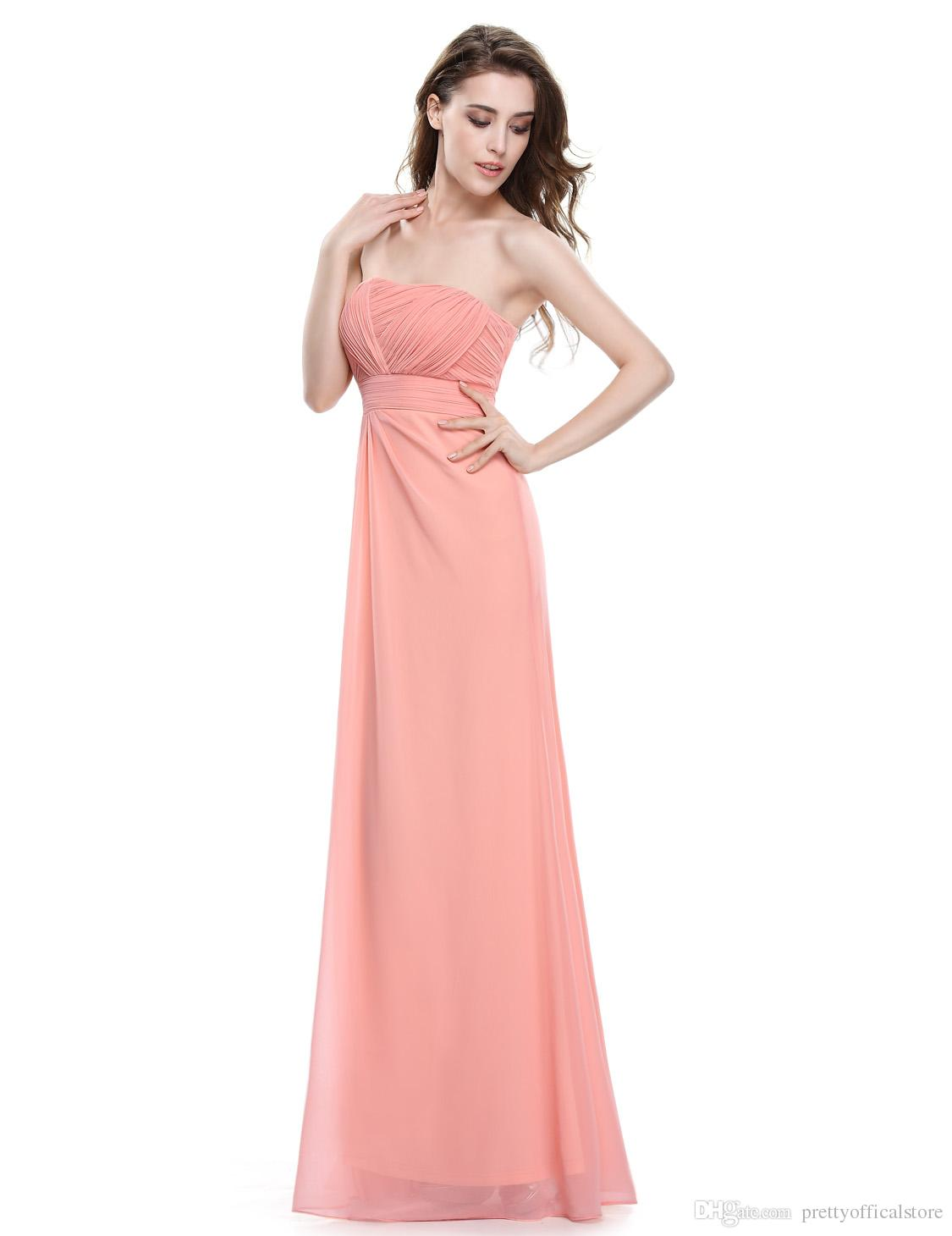Compre Vestidos De Noche Sin Tirantes De Melocotón Rosa Para La ...