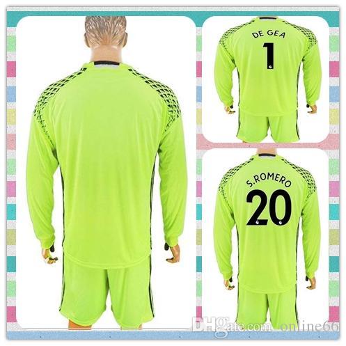 new style 644ca d42b8 New Uniforms Kit 2017-2018 Soccer Jersey Manchesteres #1 De Gea #20  S.Romero United Goalkeeper Green Long Sleeve Jerseys
