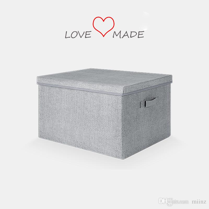 2018 Clothes Storage Box With Lid And Handle Natural Oxford Cloth, Gray, Large  Box Foldable Closet Organizer, Multiple Usage From Miinz, $33.26 |  Dhgate.Com