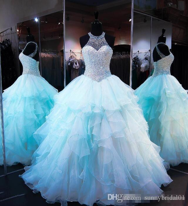 Ruffled Organza Skirt with Pearl Beaded Bodice Quinceanera Dresses 2017 High Neck Sleeveless Lace up Cups Matching Bolero Prom Ball Gown