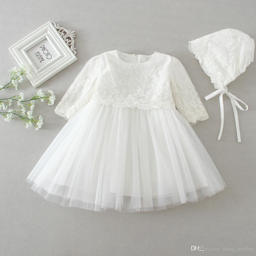 10ab94d6d Bebê recém-nascido Batizado Vestido Infantil Meninas Branco Princesa Rendas Batismo  Vestido Da Criança Do Bebê Da Menina Chiffon Vestidos 2 pcs longsleeve ...