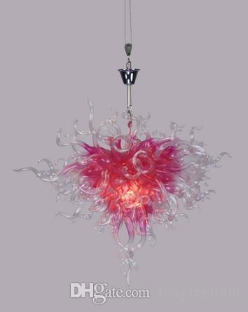 Romantic pink glass chain chandeliers for home wedding decoration romantic pink glass chain chandeliers for home wedding decoration dale chihully style hand blown glass crystal chandelier with led bulbs large pendant mozeypictures Gallery