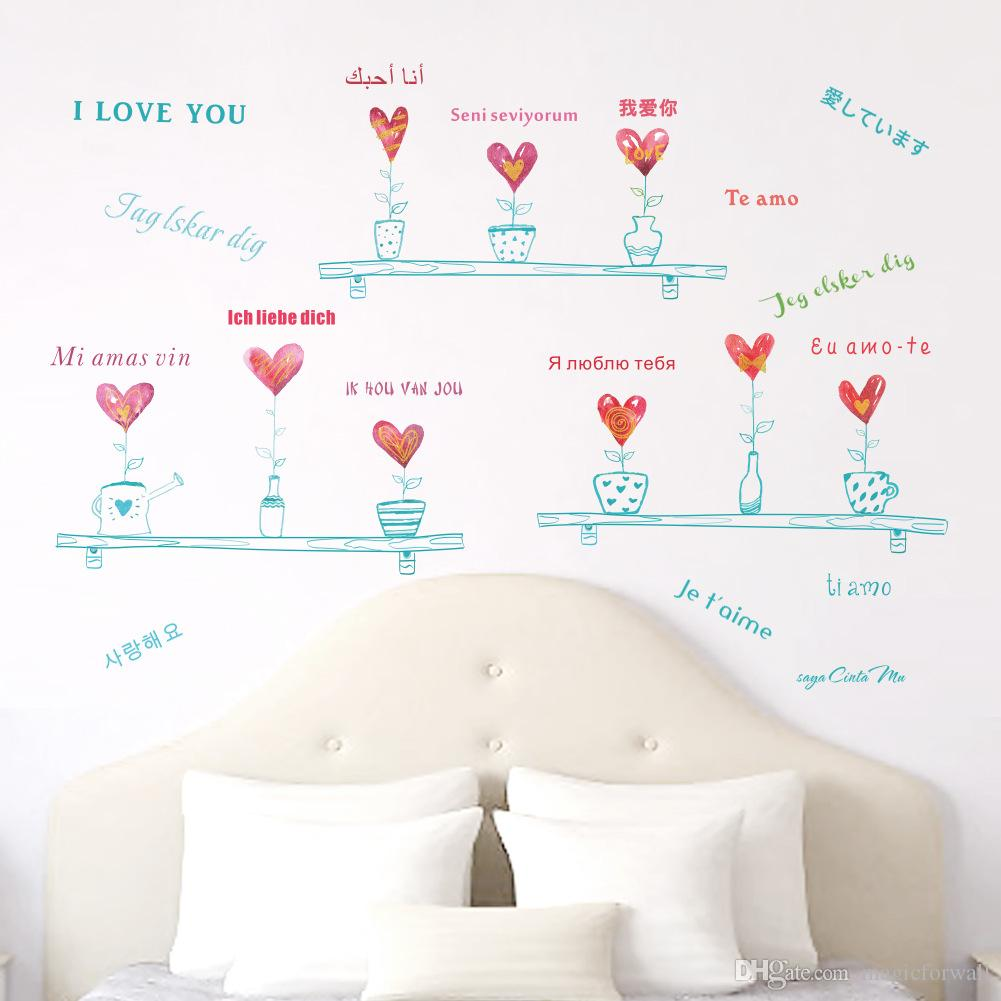 Love Heart Shape Potted Plant Wall Stickers Multi Language Love Wall Decals Quote Creative Bonsai Wall Graphic Poster Cabinet Hallway Decor