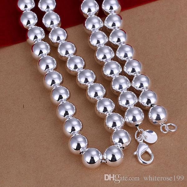 Al por mayor - precio más bajo regalo de Navidad 925 Sterling Silver Fashion 10 mm collar hueco y conjunto de brazaletes yS151