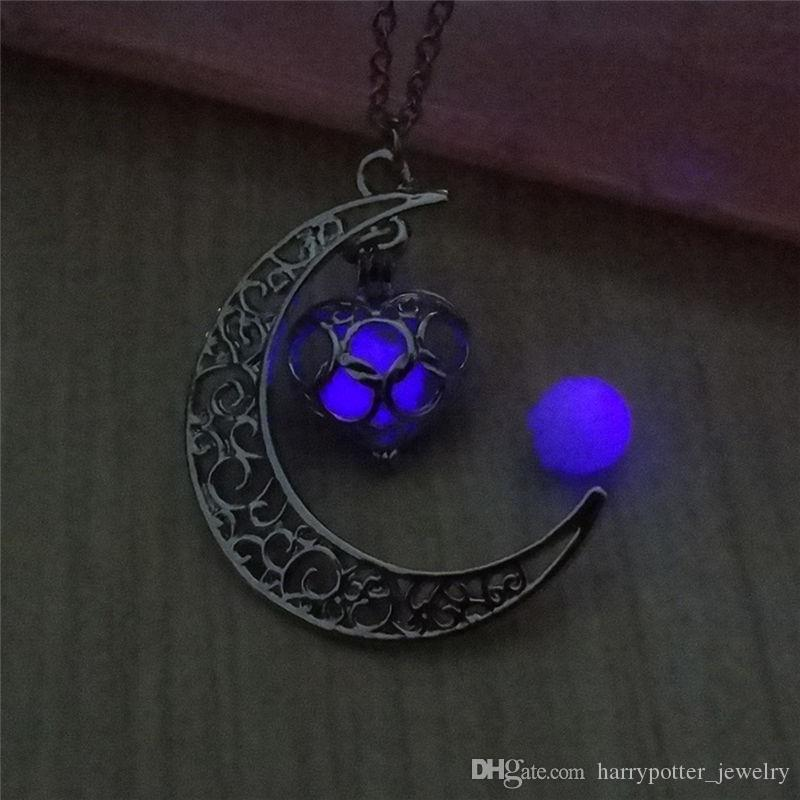 Steampunk oca Colar colar de pingente mágica Coração Moon Glow In The Dark Vintage Amor de incandescência Luminous hip hop navio queda de jóias