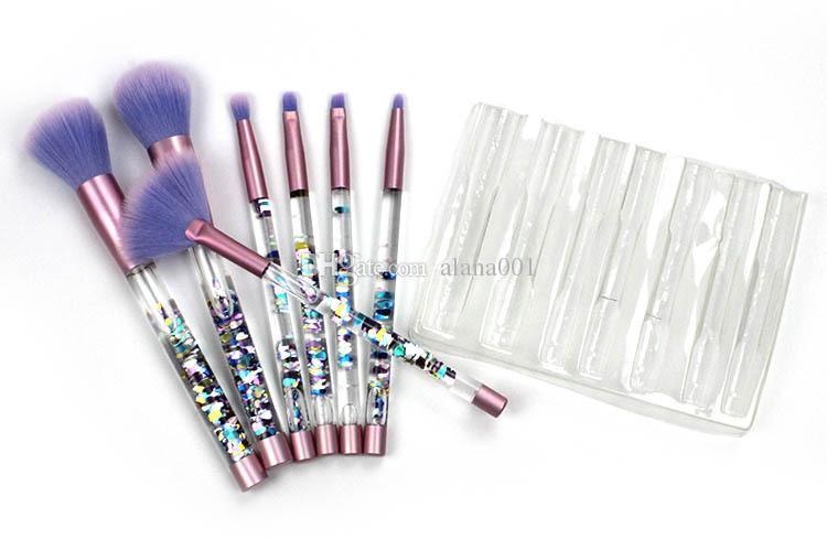 Nouveau Couleur Sirène Maquillage Sourcils Eyeliner Blush Mélange Contour Fondation Cosmétiques Maquillage Pinceaux Set Cristal maquillage