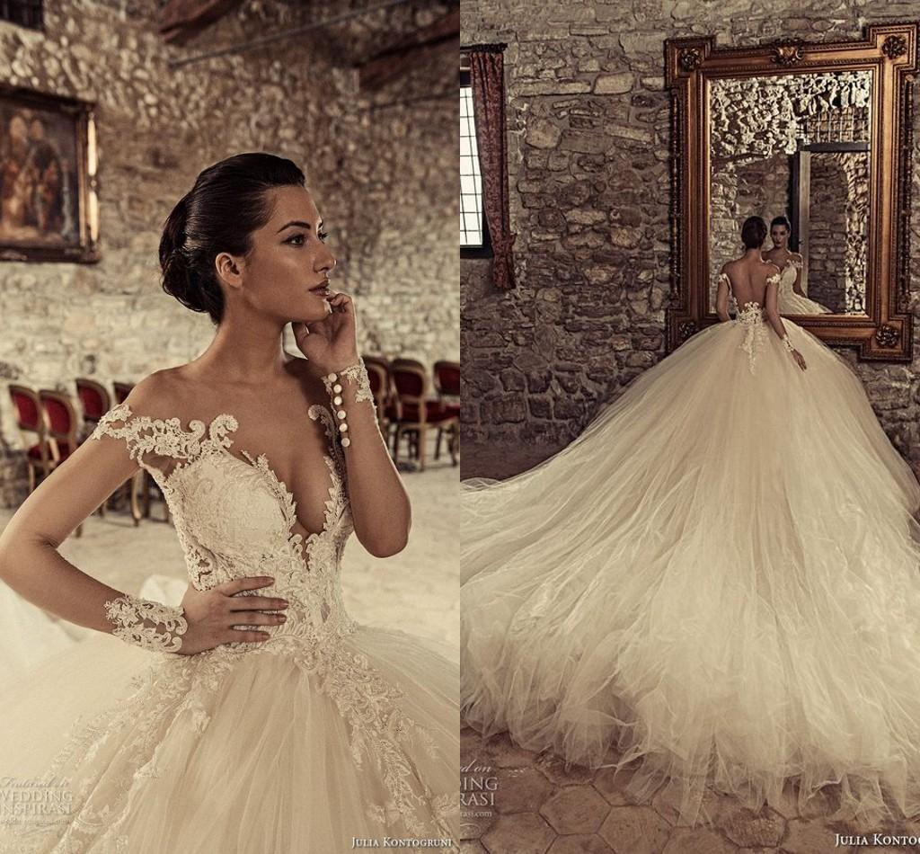 2017 Julia Kontogruni Lace Arabic Wedding Dresses Sheer Neck Long Sleeves Pearls Tulle Bridal Sexy Gowns Dress Formal Evening