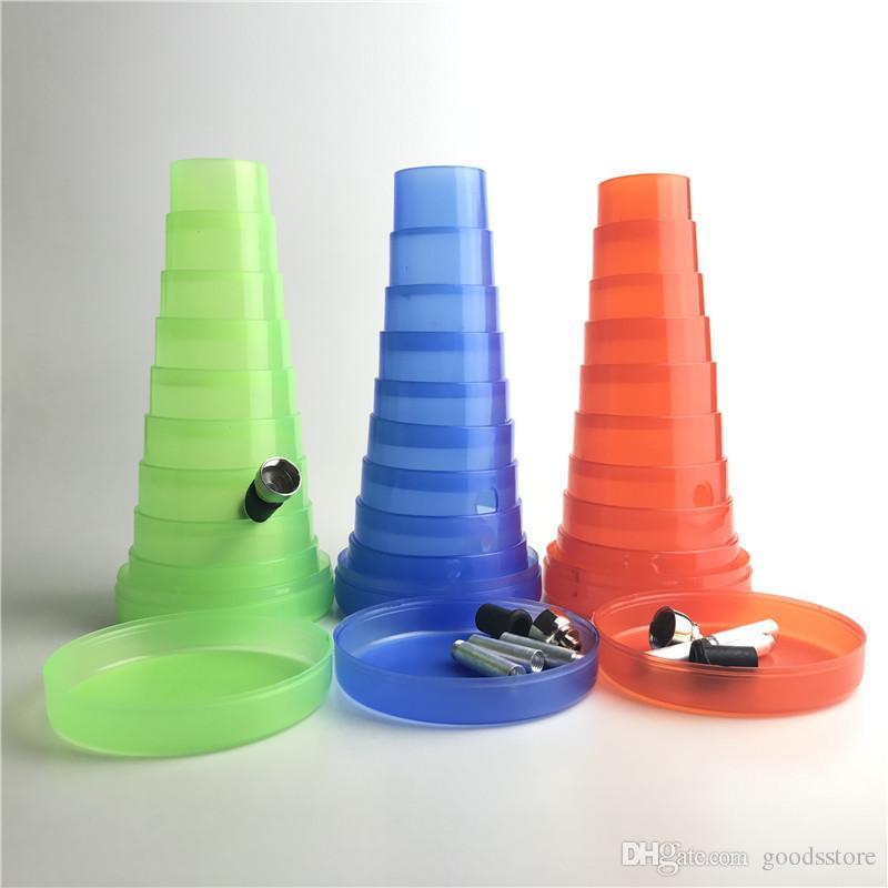 Bong in plastica colorata con dischi di plastica trasparente blu verde rosso Mini Bong di tracciamento pieghevole in plastica da 1,3 a 8 pollici Smonta tubi in metallo