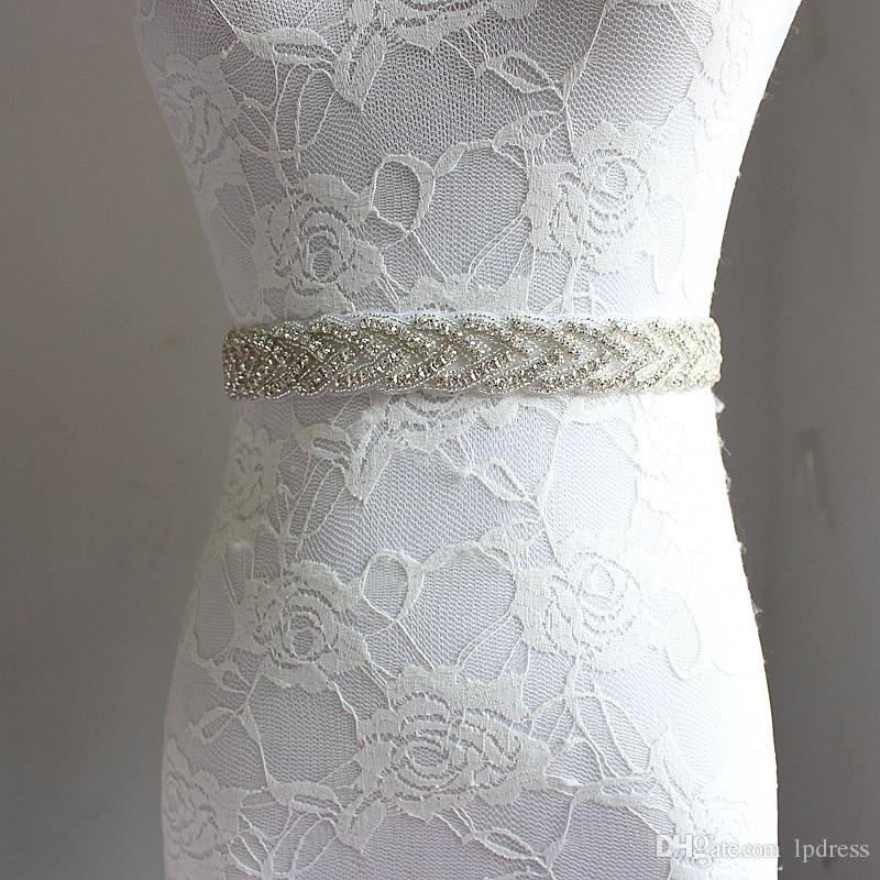 2017 Sparkling Wedding Sashes Cintura nuziale Bling Bling Perline Cristallo Lungo Accessori da sposa Telai Bianco, Avorio, Vino, Verde scuro, Marrone