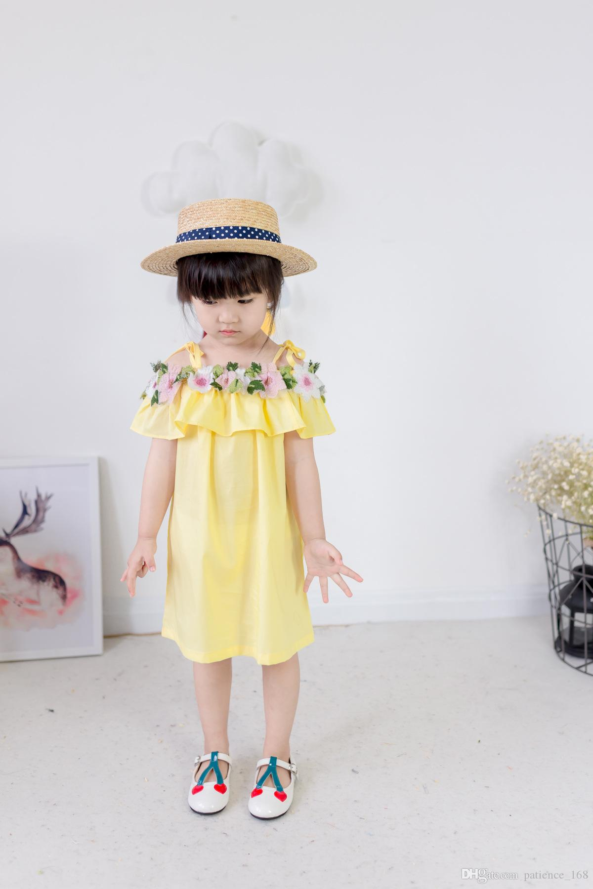 Korean style 2017 new arrival girl summer flower embroidered sling Dress high quality cotton flouncing dress