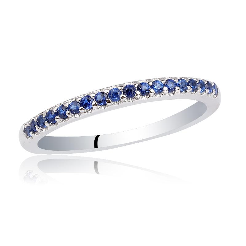 Women Pure 925 Sterling Silver Ring Shiny Simulated Blue Sapphire