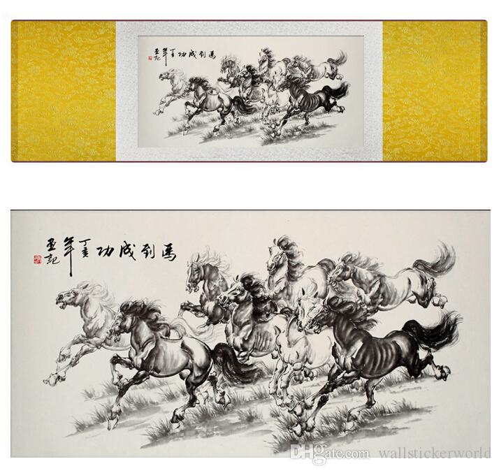 Running Horse Home Office Decoration Chinese Scroll Silk Wall Art Poster Picture Painting For Living Room