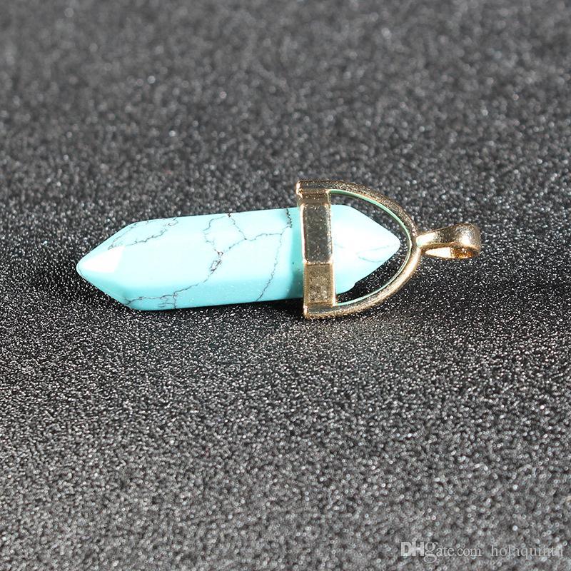 collier de pendentif en cristal de lune en pierre naturelle mode collier de pendentif en cristal de couleur pour les femmes