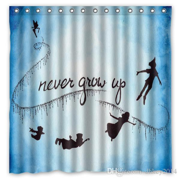 2018 Custom Peter Pan Never Grow Up Fans Printed Size 180cmx180cm 100 Waterproof Polyester Shower Curtain From Dhkey2014 211
