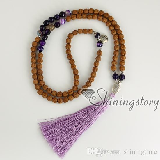 bodhi graines perles de prière bracelet bouddhiste gros malas hindou tibétain indien perles de prière bouddhiste collier spirituel yoga bijoux
