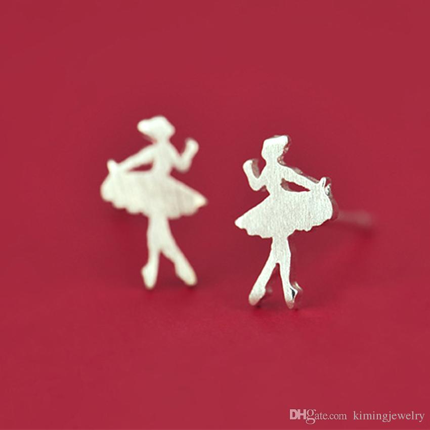Elegant Real 925 Sterling Silver Jewelry Lovely Dancing Ballet Girl Earrings for Women Earrings Fashion Brincos