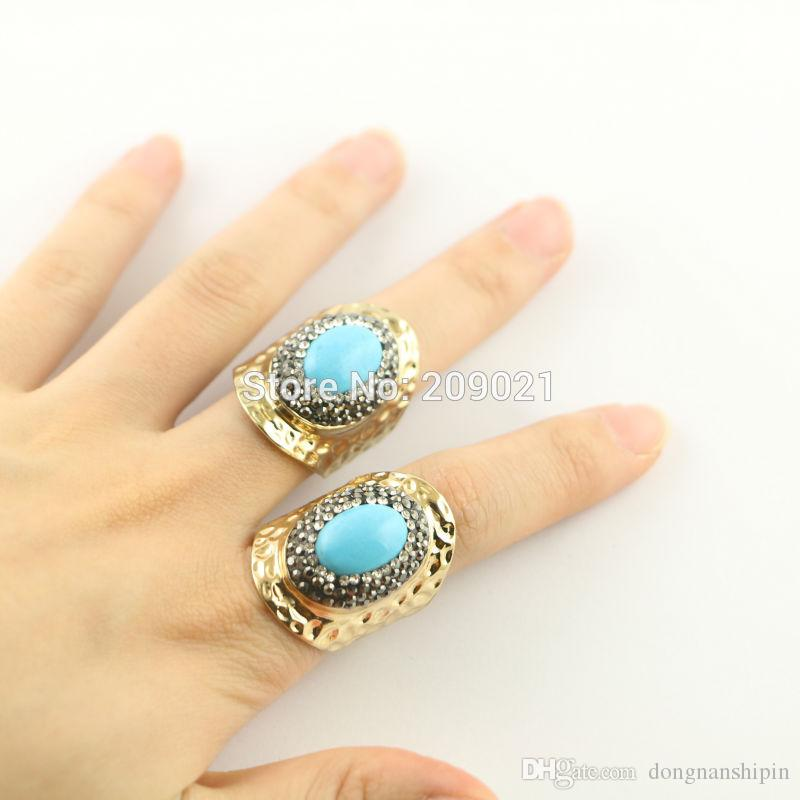 Charms ~ 6pcs Gold Plated Pave Rhinestone Crystal Turquoise Stone Rings Jewelry Finding For Women