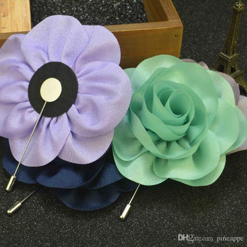 Fashion Men Brooch big Flower Lapel pin suit Boutonniere fabric yarn pin button Stick flower Brooches Broches for Groomsmen wedding Jewely