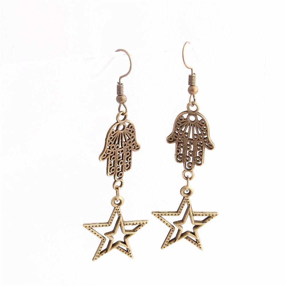 Metal Alloy Zinc Hamsa Hand Connector Star Pendant Charm Drop Earing Diy Jewelry Making C0753
