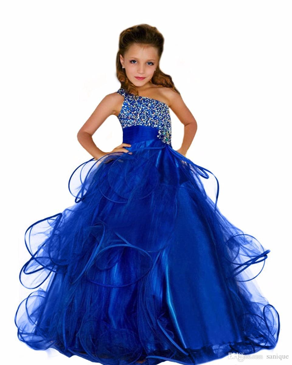 Royal Blue Beading Little Girls Pageant Dresses 2018 Cheap One Shoulder Ruffle Beads Puffy Elegant Runway Kids Formal Wear Prom Gowns