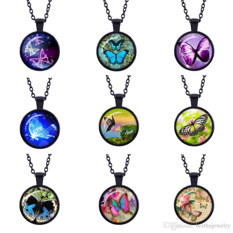La moda retro de la mariposa Time joya colgante negro collares Joyería de época Time Glass Colgante Recuerdos dar un buen regalo para su amigo