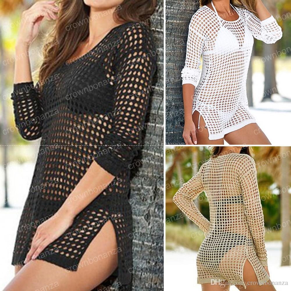 Beach Cover Up Femmes Sexy Shirt À Manches Longues Bikini Creux Cover Up De Robe De Plage Plage Cardigan Maillot