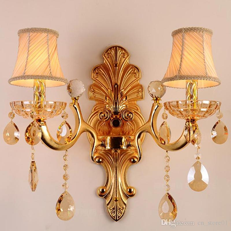 Modern Golden wall lamp Luxury bedroom wall lights with Lampshades beside bed wall sconce Brasket lighting crystal sconce