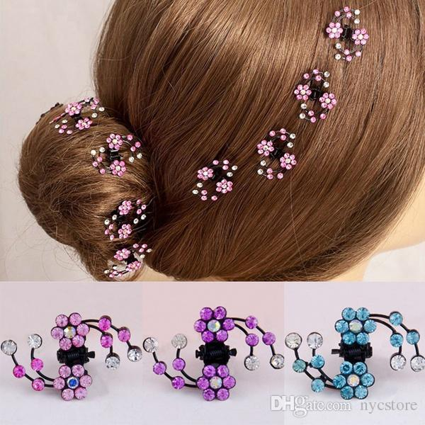 6Pcs Mini Headwear Rhinestone Crystal Bridal Hair Claws for Women Snowflake Hair Pins and Clips Flower Girl Hair Accessories