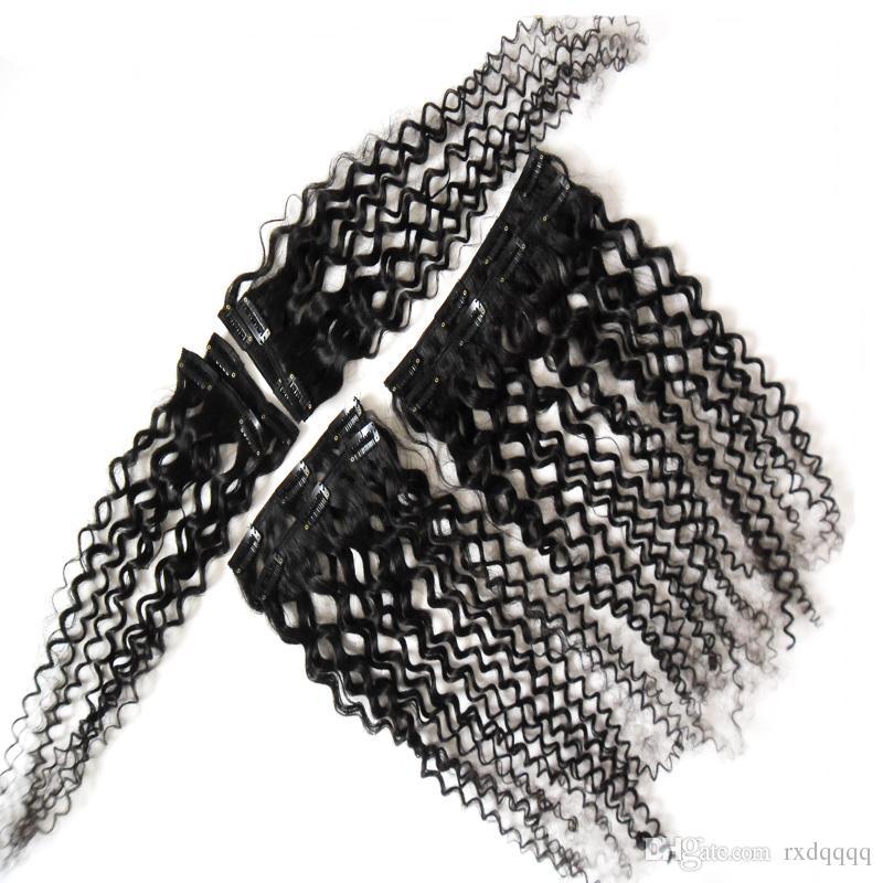 Afroamerikanerclip in den Extensions des Menschenhaars 100g 120g natürlicher schwarzer afro-verworrener lockiger Klipp
