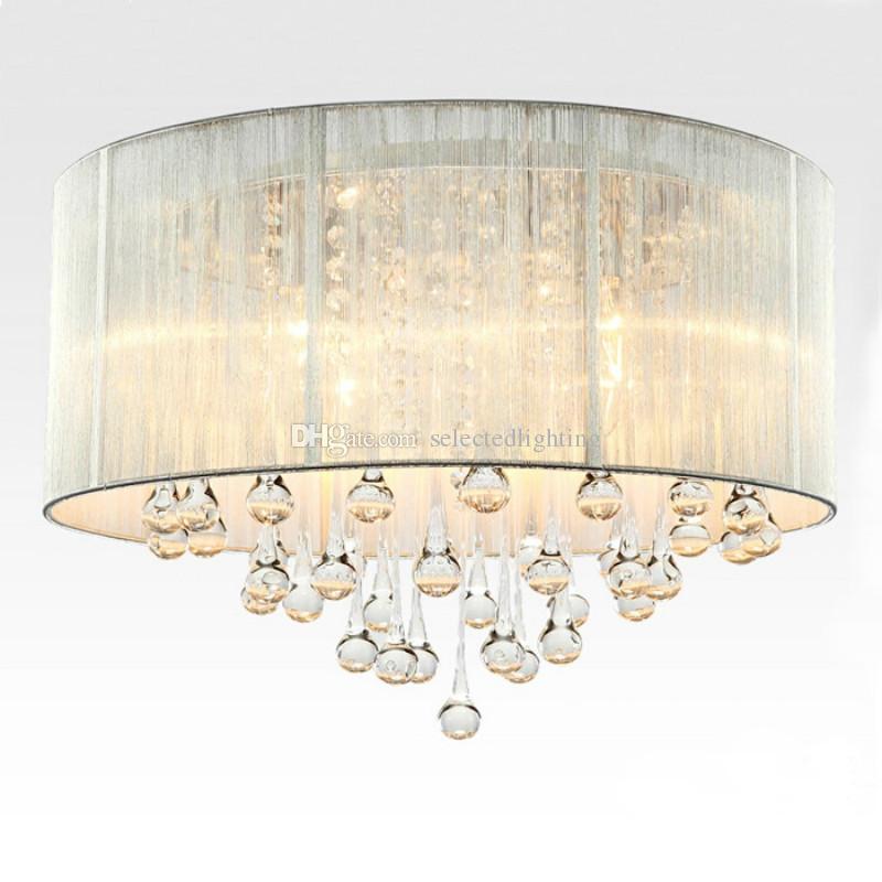 طبل قلادة ضوء الحديث النسيج الظل قطرة المطر كريستال الثريات 6 أضواء e14 e12 لمبة الكريستال مصباح الإضاءة D.45cm