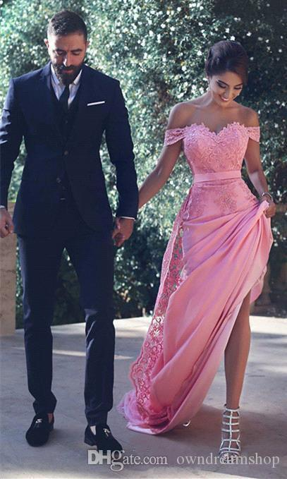 Arabic Dubai Blush Pink Mermaid Elegant Evening Gowns Sleeves 2017 Off the Shoulder Short Sleeve Lace Prom Dresses Special Occasion