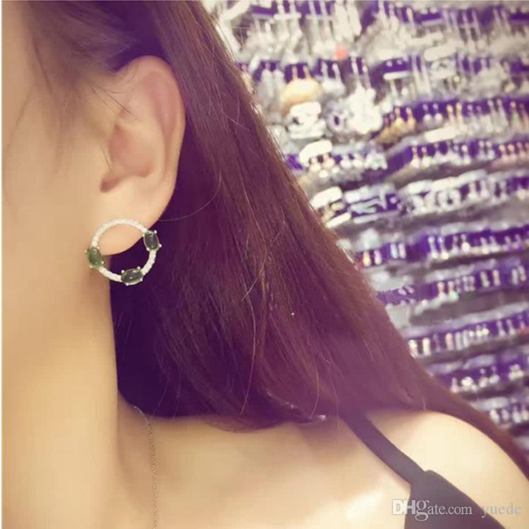 Fashion jewelry new 925 silver needle Triangle pear Earrings Fit Pandora female crystal from Swarovski simple