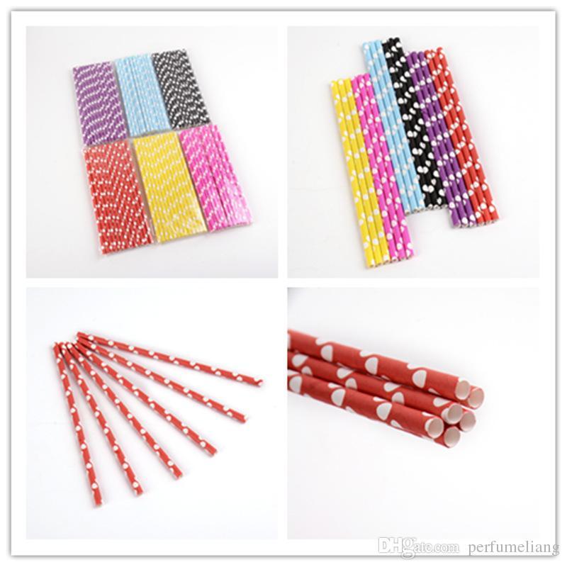 couleur envoyer à mélangé au hasard modèles Chevron rayé Polka Dot Potable Pailles De Papier pour la fête faveur Livraison gratuite JF040