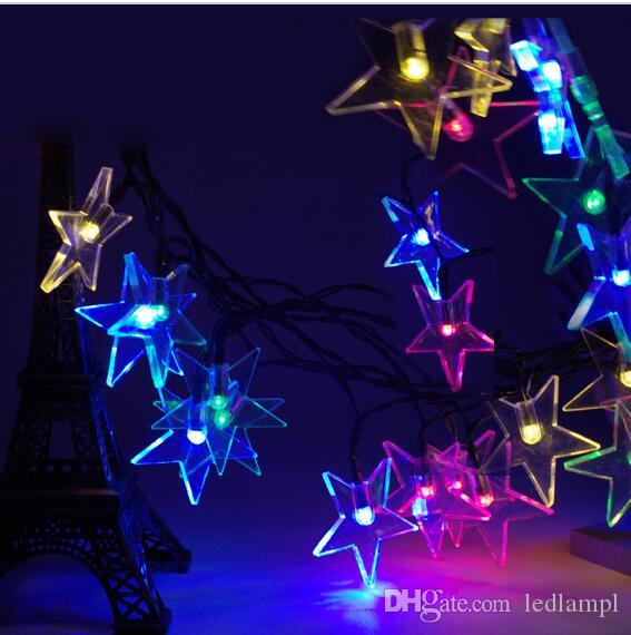20 led iron star string light solar powered fairy lights christmas wedding party home decoration lamp white warm white string of light bulbs string of