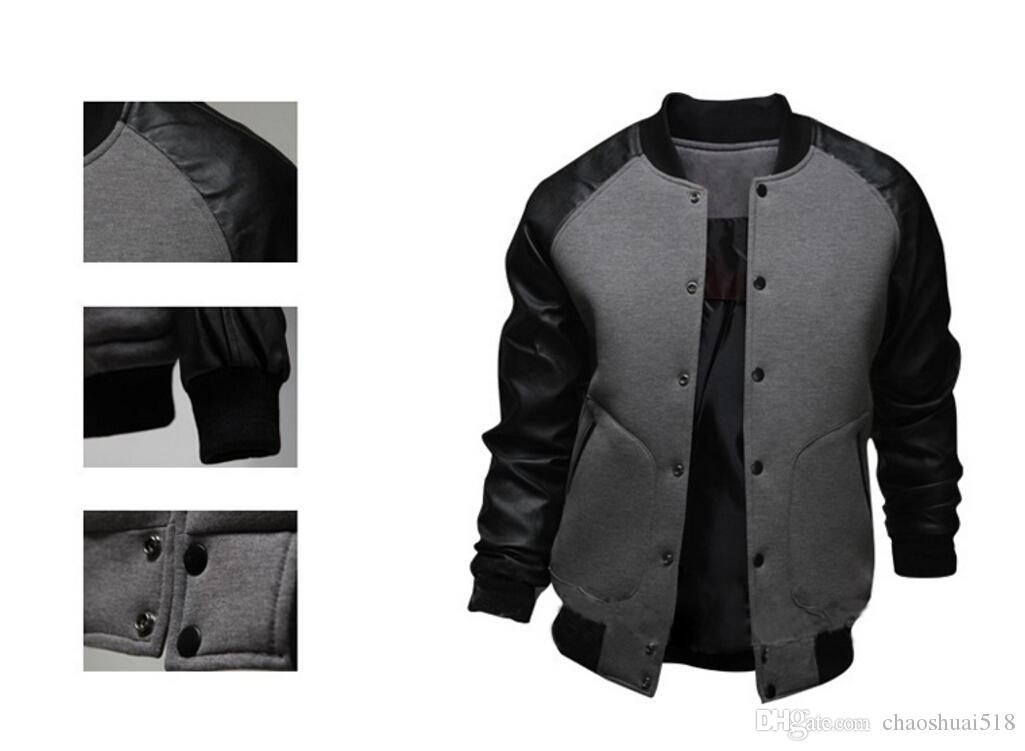 New Cool College Baseball Jacket Men 2018 Fashion Design Black