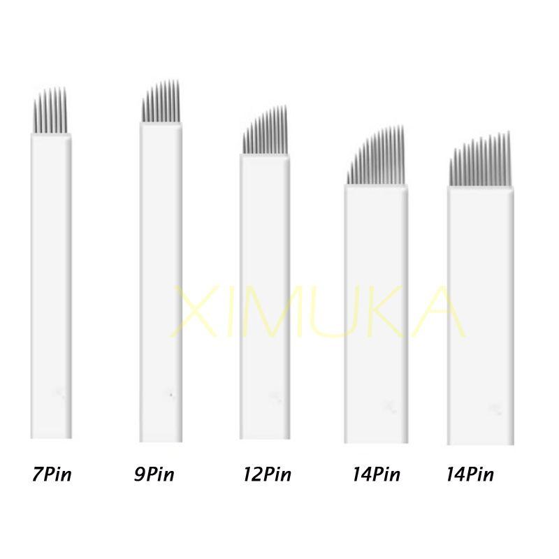 9 Pin Maquillaje permanente hoja de la aguja Cuchilla de la ceja Herramienta de tatuaje Agujas de Microblading para el bordado 3D Manual tatuaje accesorios envío gratis