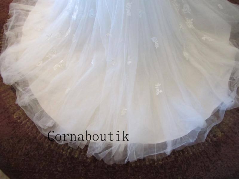 Actual Photos Sweetheart Tulle Ribbon Handmade Flower Sash Custom Made Beaded Bridal Gown Wedding Dresses Robe De Mariee