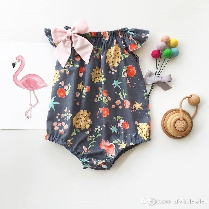 12 Stili Baby Girl Pagliaccetto Suit Boutique Abbigliamento Bambino Onesies Floral Fruit Solid Leopard Tuta Tuta Increspature Body 0-2Y