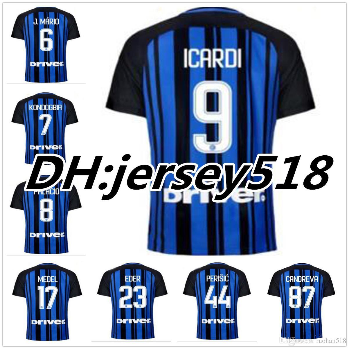 d648307714d7 2019 Top Thai Quality 17 18 Inter Home Soccer Jersey 20 17 2018 JOVETIC  ICARDI PALACIO KONDOGBIA MEDEL CANDREVA Milan Football Shirts From  Ruohan518