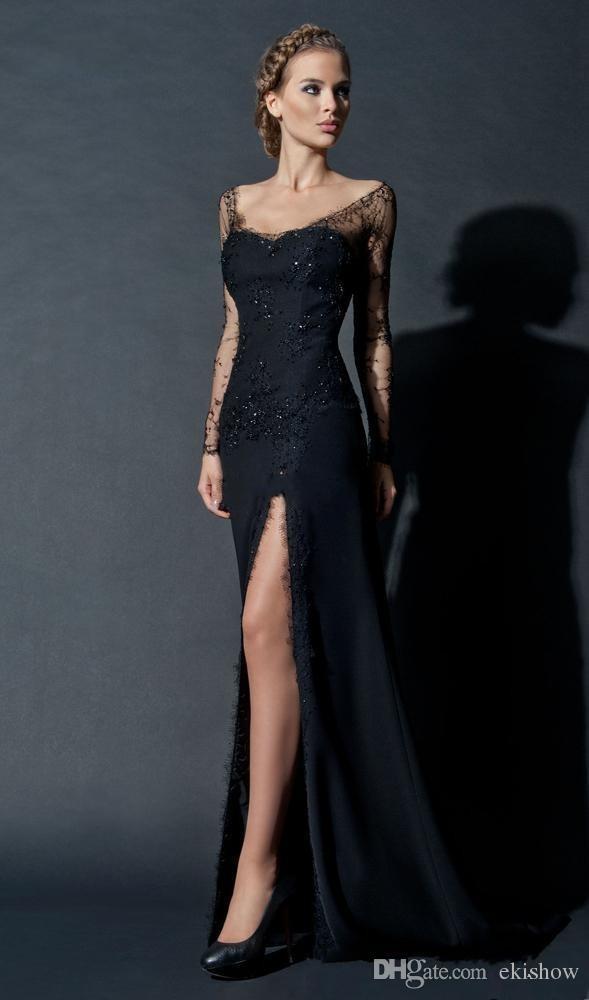 2017 venta caliente sexy de encaje de lentejuelas negro manga larga escarpada vestido de noche Slit Scoop escote manga larga Celebrity Prom vestidos por encargo