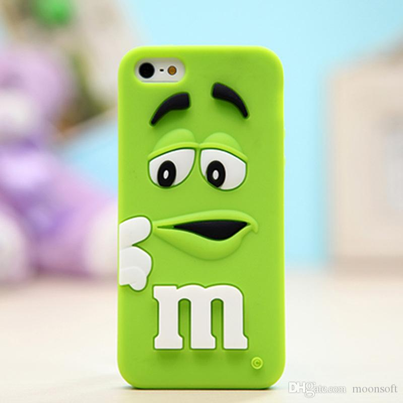 timeless design db1d3 27c81 Phone Cases For iPhone 6S 7 plus 3D Cartoon Silicone M&M s Fragrance  Chocolate Rainbow Beans Cell Phone Cases Cover